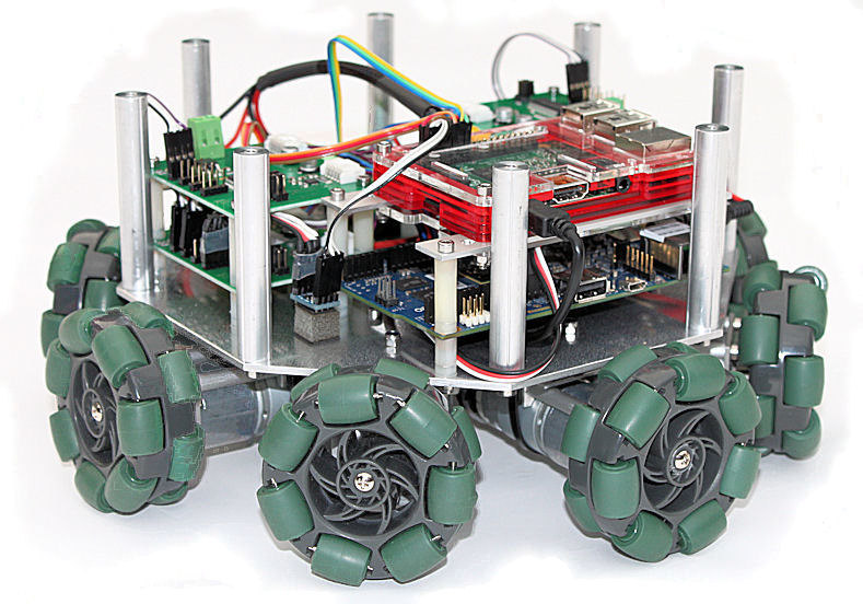 Holonomic Robot with 8 Omni-Roller Wheels, Raspberry Pi and Intel Galileo Gen 2